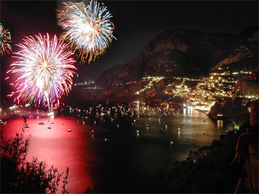 Fireworks of 15 august in Positano