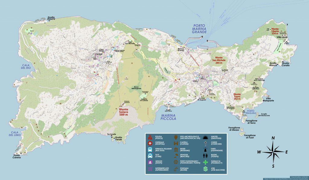 Cartina Costiera Amalfitana E Capri.Mappa Di Capri Cartina Geografica Turistica Lubrense Boats